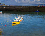 Boats In Harbor Metal Prints - Mousehole Cornwall Metal Print by Louise Heusinkveld