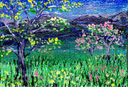 Regina Valluzzi - Moutain trees at dusk miniature 2 by 3 inch painting