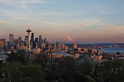 Seattle Skyline Prints - Moutainglow Print by Benjamin Yeager