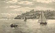 Canoe Drawings Posters - Mouth of the Shrewsbury River 1872 Engraving Poster by Antique Engravings