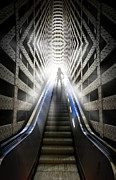Escalator Prints - Move into the light Print by Nathan Wright