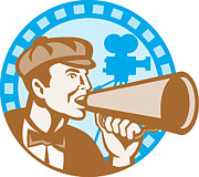 Crew Prints - Movie Film Director With Bullhorn And Camera Retro Print by Aloysius Patrimonio