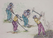 Golf Pants Prints - Movin Through the Game Print by Suzanne Macdonald