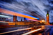 London Pyrography Prints - Moving past Parliament Print by Karl Wilson