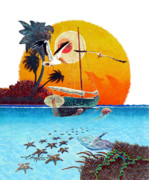Tropical Islands Posters - Moving Stars Poster by David  Chapple