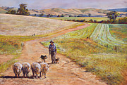 Australia Pastels Posters - Moving the Rams Poster by Lynda Robinson