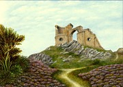 Mow-cop Paintings - Mow Cop Castle by Nasar Khan
