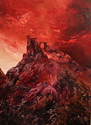 Mow-cop Paintings - Mow Cop Castle Staffordshire in a Red Glow by Jean Walker
