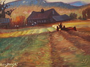 Berkshire Hills Paintings - Mowing by Len Stomski