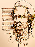 Ink Drawing Drawings - Mozart by Derrick Higgins