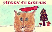Fun Card Mixed Media Posters - MPrints - Christmas Cheer 20 Poster by M  Stuart