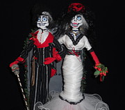 Dark Sculpture Prints - Mr and Mrs Bones Print by Amanda Machin