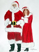 Santa Claus Drawings Posters - Mr and Mrs Claus self portrait Poster by Cathy Jourdan