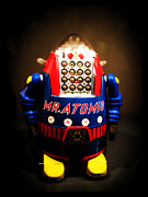 Robot Metal Prints - Mr. Atomic Tin Robot Metal Print by Edward Fielding