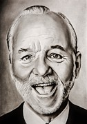 Stripes Drawings Framed Prints - Mr Bill Murray Framed Print by Brian Broadway