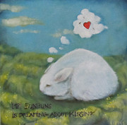 Bunny Paintings - Mr Bunbuns Loves with His WHole Heart by Jan Little