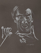 Gestures Pastels Metal Prints - Mr Conductor Metal Print by Karen Loughridge KLArt
