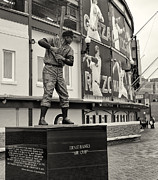 Hall Of Fame Baseball Players Framed Prints - Mr. Cub Ernie Banks Statue Framed Print by John Ullrick