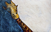 One Animal Painting Posters - Mr. Giraffe Poster by Kerrie  Hubbard