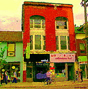 Queen City Paintings - Mr Jordan Mediterranean Food Cafe Cabbagetown Restaurants Toronto Street Scene Paintings C Spandau by Carole Spandau