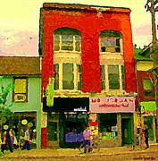 Mr Jordan Mediterranean Food Cafe Cabbagetown Restaurants Toronto Street Scene Paintings C Spandau Print by Carole Spandau