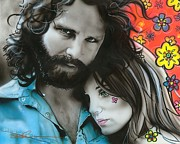 Jim Morrison Painting Posters - Mr Mojo Risin and Pam Poster by Christian Chapman Art
