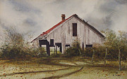 Texas Prints Posters - Mr. Munkers Old Barn Poster by Charles Fennen
