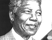 Word Portrait Drawings Posters - Mr Nelson Mandela Poster by Timothy Glasby