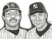 New York Yankees Drawings - Mr. October and Mr. November by Rob Payne