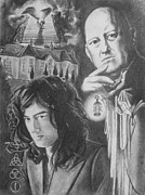 Led Zeppelin Drawings - Mr. Page And Mr. Crowley by Amber Stanford