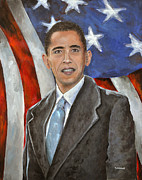 Barack Obama Painting Prints - Mr. President Barack Obama Print by Paul Mudersbach