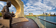 Panoramas Framed Prints - Mr Rogers statue in Pittsburgh Framed Print by Emmanuel Panagiotakis