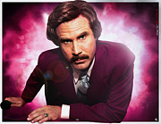 Slam Prints - Mr. Ron Mr. Ron Burgundy from Anchorman Print by Nicholas  Grunas