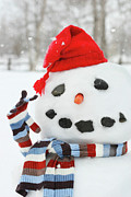 Scarf Posters - Mr. Snowman Poster by Sandra Cunningham