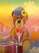 Lego Digital Art Posters - Mr. Teddy Bear Poster by Eleni Mac Synodinos