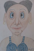 Pencil Artwork Drawings Prints - Mrs. BeachMan Print by Melissa Nankervis