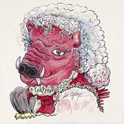 Arkansas Mixed Media Posters - Mrs. Claus Hog Poster by Nadine Rippelmeyer