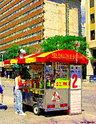 Hot Dog Stand Paintings - Mrs Dalloways Hotdog Stand Street Vendor Yonge And Gerrard Toronto Food Cart Scenes Cspandau Art by Carole Spandau