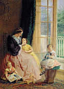 Domestic Scene Metal Prints - Mrs Hicks Mary Rosa and Elgar Metal Print by George Elgar Hicks