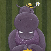 Kid Painting Prints - Mrs. Hippo Print by Christy Beckwith