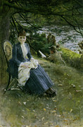 Reading The Paper Prints - Mrs symons In Scotland Print by Anders Zorn