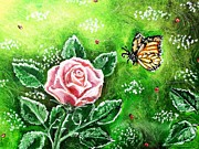 Flutter Art - Ms. Monarch and her Ladybug Friends by Shana Rowe