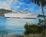 Navigation Paintings - ms Starward in Port Antonio Jamaica by Kenneth Harris