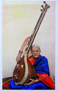 Music Legend Drawings - M.S Subbalakshmi by Bindu Vulli