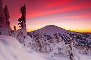 Ski Art Posters - Mt. Bachelor Winter Twilight Poster by Kevin Desrosiers