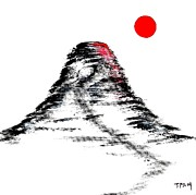 Artist Cube Originals - Mt Fuji sun burst painting by Gordon Lavender