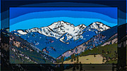 North Cascades Mixed Media Posters - Mt Gardner in the Spring Abstract Painting  Poster by Omaste Witkowski