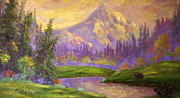 Beautiful Purples Prints - Mt. Hood at Dawns Early Light Print by Glenna McRae
