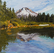 Mountain Pine Tree Painting Framed Prints - Mt. Hood from Mirror Lake Framed Print by Alice Leggett