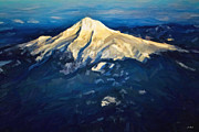 Jon Burch Photography Posters - Mt. Hood - Oil Poster by Jon Burch Photography